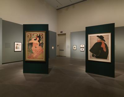 Works by Henri de Toulouse-Lautrec and Alphonse Mucha side-by-side in Garen Gall